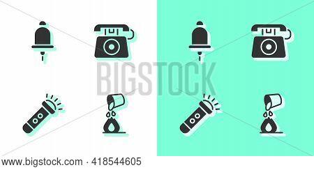 Set Bucket Extinguishing Fire, Ringing Alarm Bell, Flashlight And Telephone Call 911 Icon. Vector
