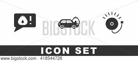 Set Telephone Call 911, Burning Car And Ringing Alarm Bell Icon. Vector
