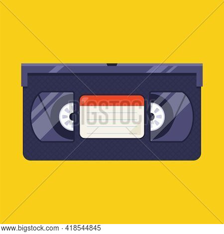 Old Videotape From The 90s On A Yellow Background. Flat Vector Illustration.