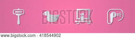 Set Paper Cut Shaving Razor, Rubber Duck, Washbasin Mirror And Shower Icon. Paper Art Style. Vector