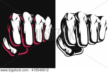 Silhouette Punch Blow Jab Hitting Stencil Front View Vector Drawing