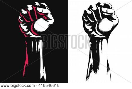 Silhouette Raised Fist Hand Clenched Protest Stencil Vector Drawing