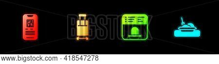 Set E-ticket Train, Suitcase, Ticket Office To Buy Tickets And Plate With Food Icon. Vector