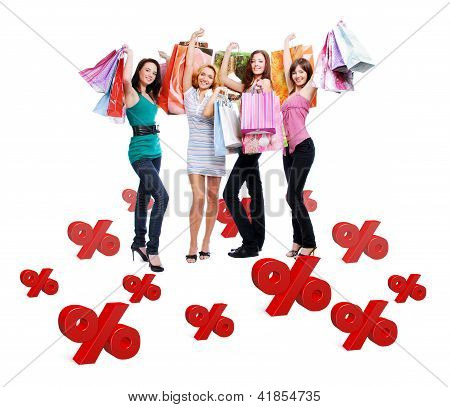 Group Of Happy Women With Shopping Bags