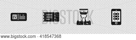 Set Qr Code Ticket Train, Train, Conductor And Buy Online Icon. Vector