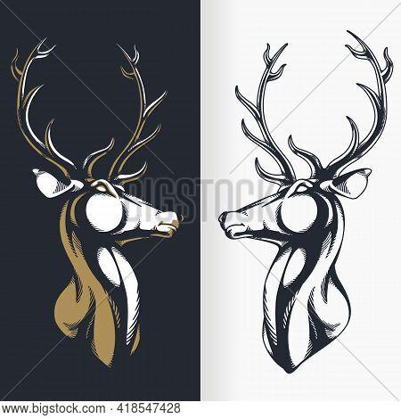 Silhouette Stag Buck Elk Deer Head Stencil Isolated Vector Drawing