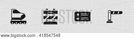 Set High-speed Train, End Of Railway Tracks, Road Traffic Signpost And Railway Barrier Icon. Vector