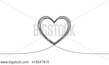 Continuous Line Love Icon. One Heart Silhouette Shape. Valentine Day Love Icon On White Background.
