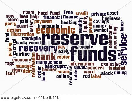 Word Cloud With Reserve Funds Concept Create With Text Only.