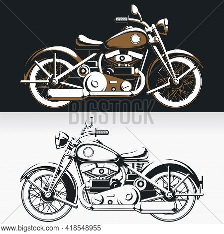 Silhouette Vintage Biker Motorcycle Sideview Old Rider Vector Drawing