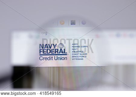 New York, Usa - 26 April 2021: Navy Federal Credit Union Logo Close-up On Website Page, Illustrative