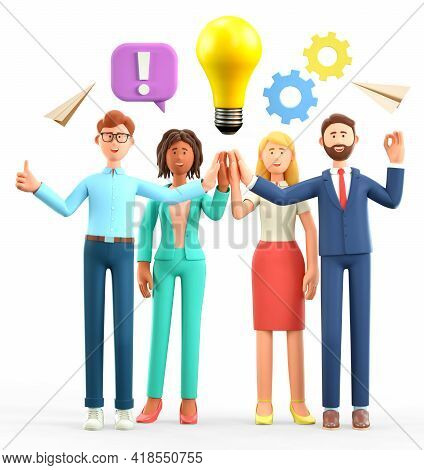 3d Illustration Of Business Team Brainstorming. Happy Working People Giving High Five And Generating