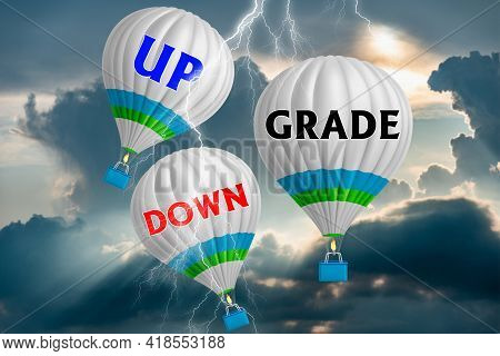 Hot Air Balloons With Upgrade Or Downgrade Concept. Abstract Background. 3d Illustration.