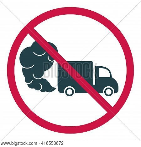 Prohibiting Hazardous Exhaust Gas Sign. Truck Or Van Icon With Exhaust Gases. Exhaust Fumes. Environ