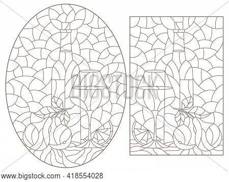 Set Of Illustrations In The Stained Glass Style With Still Lifes, Wine Bottles, Glasses And Fruits,