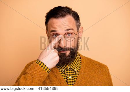 Portrait Of Nice Brunet Hairdo Strict Man Wear Spectacles Brown Cardigan Isolated On Pastel Beige Co