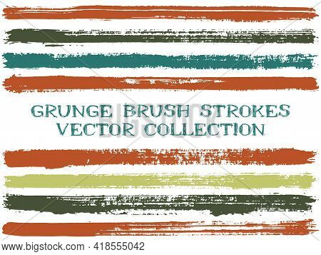 Long Ink Brush Strokes Isolated Design Elements. Set Of Paint Lines. Advertising Stripes, Textured P
