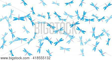 Tropical Cyan Blue Dragonfly Flat Vector Illustration. Spring Colorful Insects. Wild Dragonfly Flat
