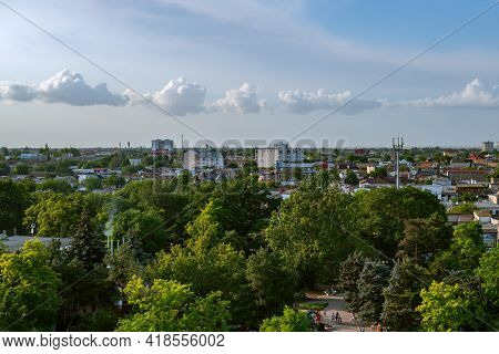 Yevpatoria, Crimea, Russia - June 19, 2020: Bird Eyes View On Streets And Buildings Of City Of Yevpa