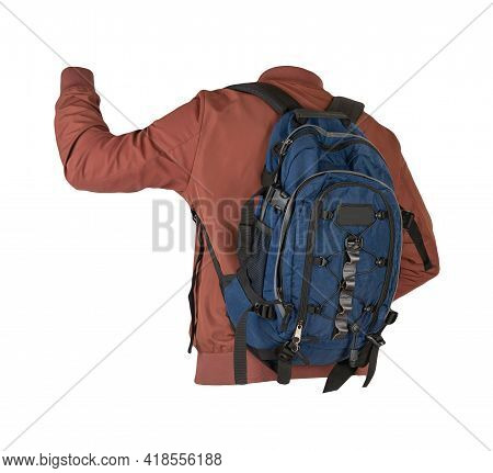 Blue Denim Backpack Dressed In  Red Bomber Jacket Isolated On A White Background. Rear View Of A Bac