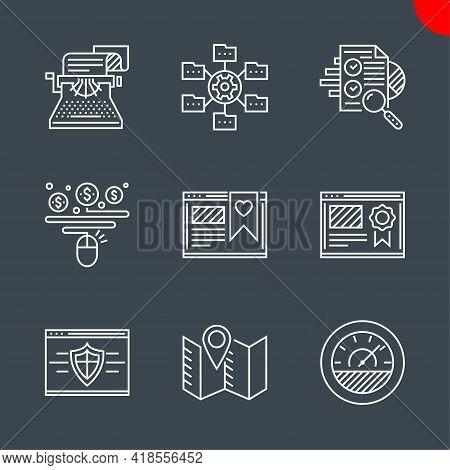 Seo Related Vector Line Icons Set. Isolated On Black Background. Website Ranking, Copywriting, Effic