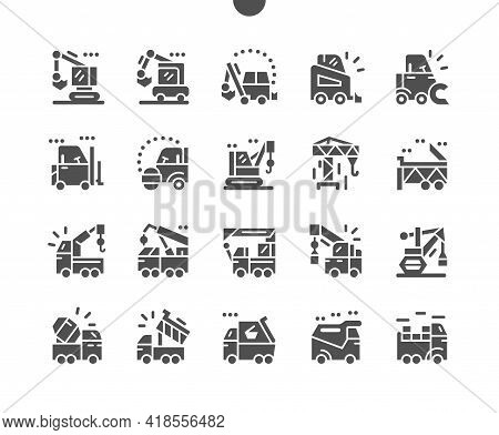 Special Machinery. Manipulator, Road Roller, Dump Truck, Excavator, And Crane. Special Equipment For