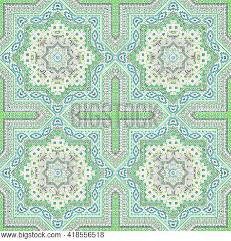 Intricate Portugese Azulejo Tile Seamless Pattern. Ethnic Geometric Vector Swatch. Rug Print Design.
