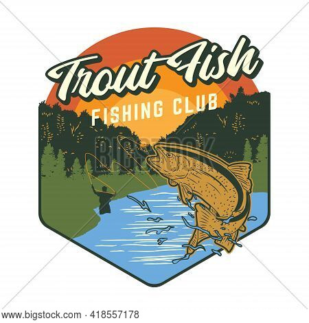 Fishing Club Logo Design With Trout Fish Illustration
