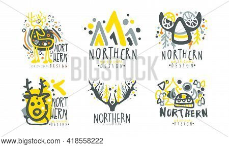Northern Logo Original Design Template With Fancy Shapes Vector Set