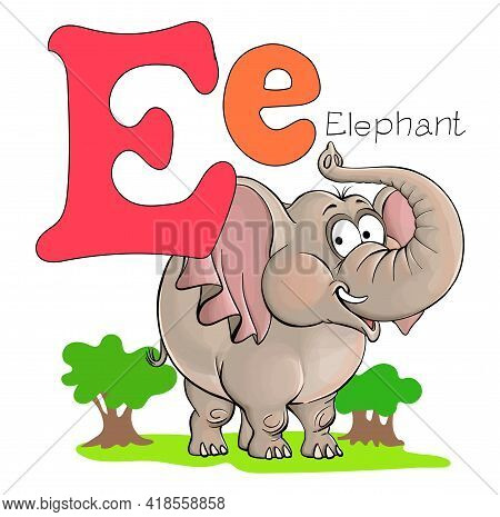 Vector Illustration. Alphabet With Animals. Large Capital Letter E With A Picture Of A Bright, Cute