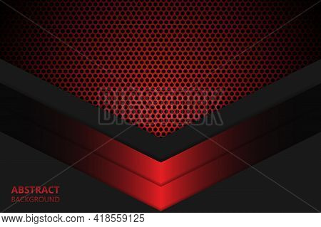 Abstract Background With Dark Red Carbon Fiber. Red Gradient Geometric Shapes On Carbon Grid. Carbon