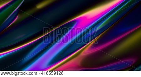 Abstract 3d Render, Iridescent Background Design, Modern Illustration