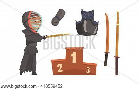 Kendo Or Sword Path Attributes As Modern Japanese Martial Art With Bamboo Swords And Equipped Man In