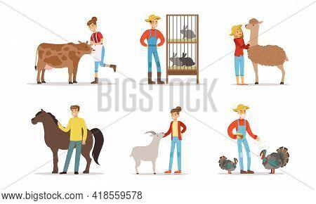 Farmers Breeding Livestock Feeding Farm Animals Vector Set