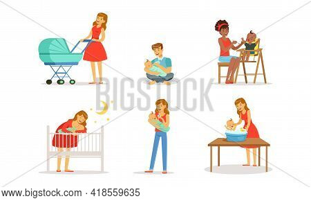 Young Mother And Father Nursing Their Little Baby Bottle Feeding And Bathing Vector Set