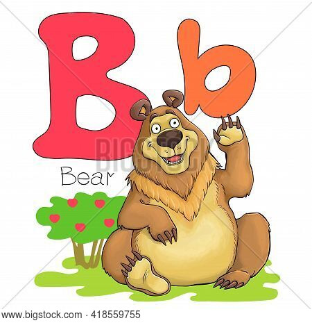 Vector Illustration. Alphabet With Animals. Large Capital Letter B With A Picture Of A Bright Cute B