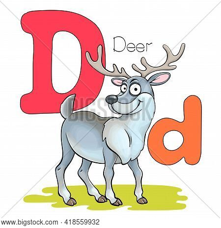 Vector Illustration. Alphabet With Animals. Large Capital Letter D With A Picture Of A Bright Cute D