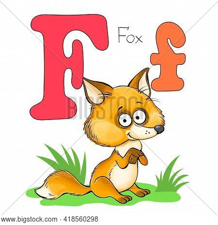 Vector Illustration. Alphabet With Animals. Large Capital Letter F With A Picture Of A Bright Cute F