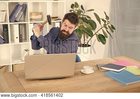 Hate My Job. Dealing With Error. Overworked Man Crush Laptop With Hammer. Frustrated Computer User.