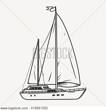 Sailing Yacht With White Sails In Monochrome Style. Illustration Chic Sailing Ship. Yacht Race, Illu