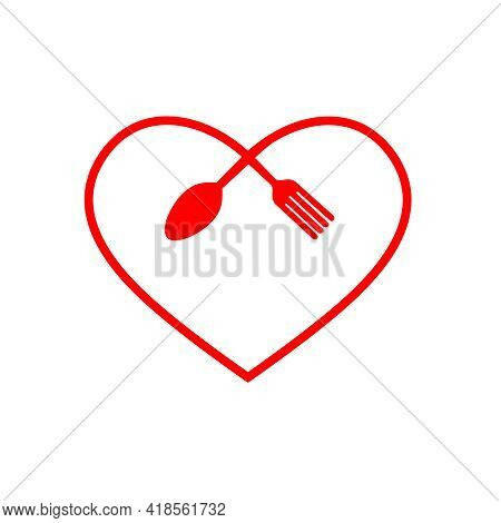 Love Food Modern Style Logo Design. A Spoon Knife And A Fork In The Shape Of A Heart. Vector Flat Il