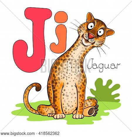 Vector Illustration. Alphabet With Animals. Large Capital Letter J With A Picture Of A Large Bright