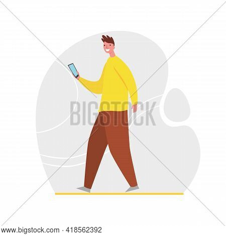 Guy Chatting And Repost Information With Friends Use Mobile App Messenger Vector Flat Illustration.