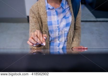 Education, Entertainment, Learning, Technology Concept - Close Up Top View Of Woman Hand Using Inter