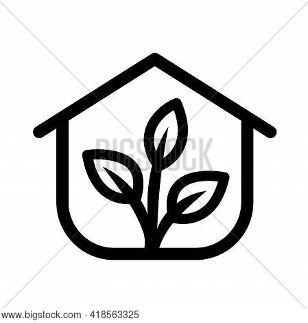 Greenhouse Outline Icon Or Logo. Greenhouse Vector Icon Isolated On White Background