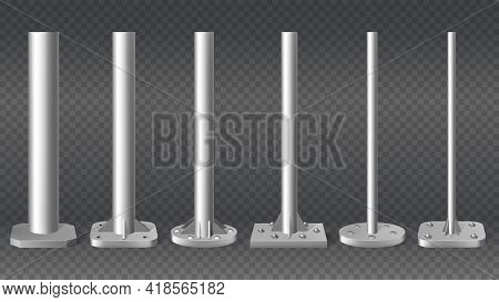 Realistic Steel Pillars. Metal Cylinder Pole Pipes, 3d Steel Columns Vector Illustration Mockup Set.