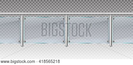 Realistic Glass Fence. Glass Balustrade With Metal Railings, Balcony Or Terrace Plexiglass Fencing 3