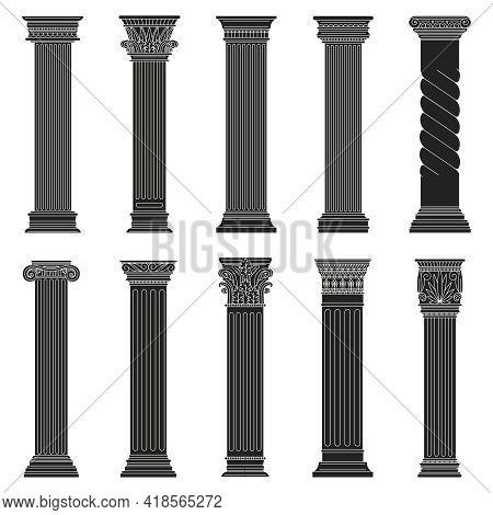 Greek Ancient Columns. Classic Roman And Greek Architectural Stone Pillars Isolated Vector Illustrat