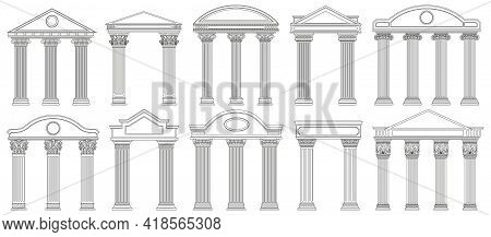 Ancient Pediments. Greek And Roman Architecture Temple Facade With Ancient Pillars Vector Illustrati