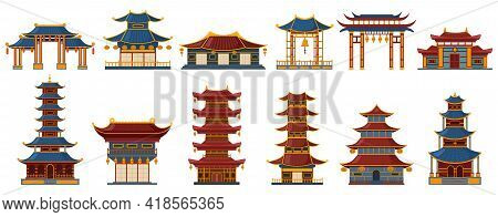 Chinese Traditional Buildings. Asian Traditional Buildings, Pagoda Gate, Temple And Palace Heritage
